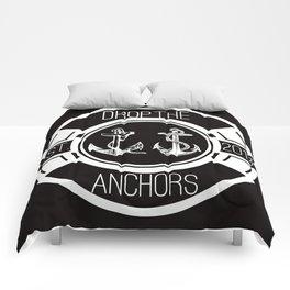 Drop The Anchors Badge Dark Comforters