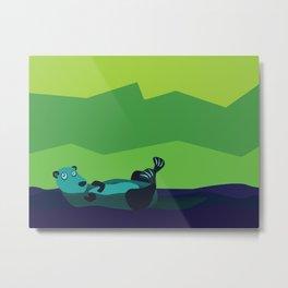 River Otter Illustration Metal Print