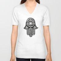 hamsa V-neck T-shirts featuring Hamsa by ArikaDoe