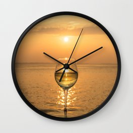 Wine Sunset in Paradise Wall Clock
