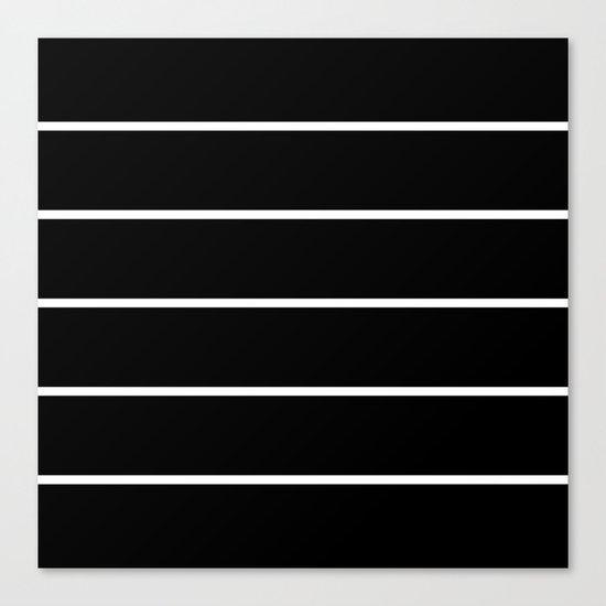 Black White Pinstripes Canvas Print