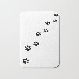 Black cat paw prints on white Bath Mat