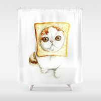 bread Shower Curtains featuring Bread Cat by Leanne Engel