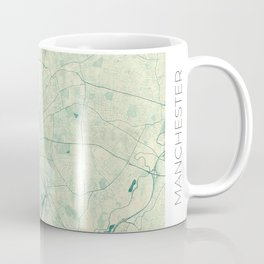Manchester Map Blue Vintage Coffee Mug