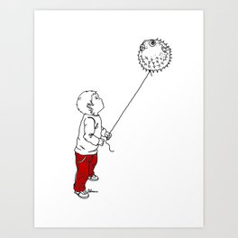Danger Kids: Blowfish Balloon Art Print