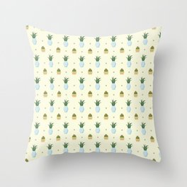 Pastel yellow brown green cactus floral dots summer pattern Throw Pillow