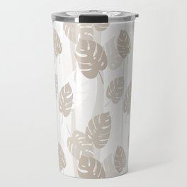 Beige Leaves Travel Mug