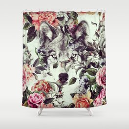 Floral Wolf Shower Curtain