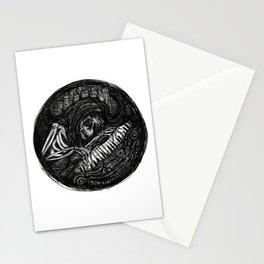 Dark Skeleton Playing Piano Stationery Cards