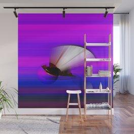 3D Sphere. Fractal Geometry. Purple Blue Lines. Fan-shaped 3D Art Wall Mural
