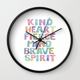 Kind Heart Fierce Mind Brave Spirit Printable Tribal Nursery Quote Girl Tribal Decor Tribal Wreath Wall Clock