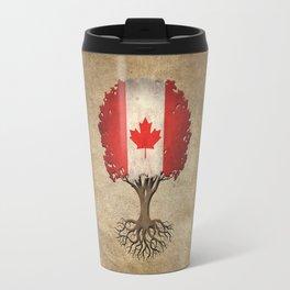 Vintage Tree of Life with Flag of Canada Travel Mug