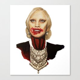 Scary American Lady Singer acting as a Vampire from a Horror Story Canvas Print