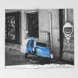Blue Vespa in Venice Black and White Color Splash Photography Throw Blanket