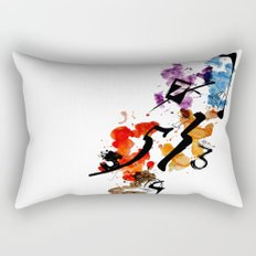 Typographic Number illustrations, watercolor,  3,4,5,7,9 by carographic Rectangular Pillow