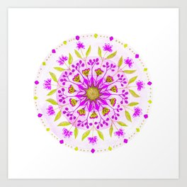 Floral Grove Mandala Art Print