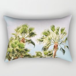 Green palm trees on blue | Marrakech travel photography | Colorful film photo art Rectangular Pillow