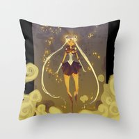 sailormoon Throw Pillows featuring SailorMoon by Samanthadoodles