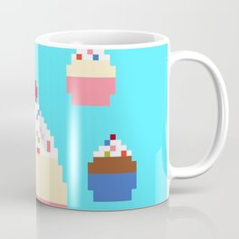 Pixel Cupcakes (Blue) Coffee Mug