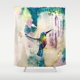 Whimsical Hummingbird Shower Curtain