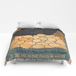 Vintage poster - I am a Fine War Hen Comforters