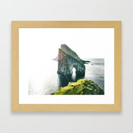 on top of the rock at faroe Framed Art Print