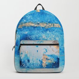 Rainy Day: a pretty minimal abstract mixed media piece in blue & gold by Alyssa Hamilton Art Backpack