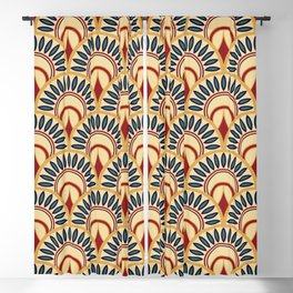 Egyptian Motif Fish Scales Seamless Pattern Blackout Curtain