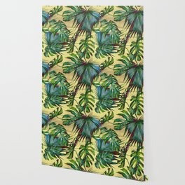 Tropical Palm Leaves on Wood Wallpaper