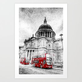 St Paul's Cathedral London Snow Art Print
