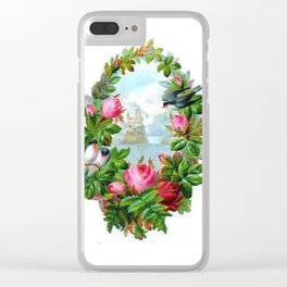 Vintage Floral Wreath Clear iPhone Case