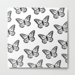 Monarch Butterfly - Black and White Color Palette Metal Print