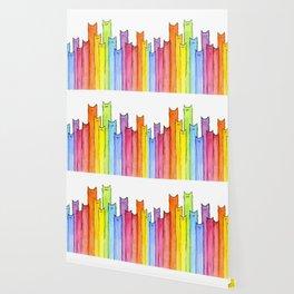 Cat Rainbow Watercolor Pattern Wallpaper