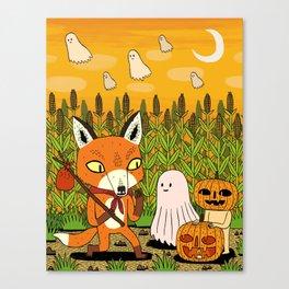The Fox and the Pumpkin Canvas Print