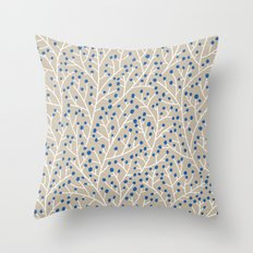 Blue & White Berry Branches Throw Pillow