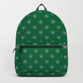 Cotton Candy Pink on Cadmium Green Snowflakes Backpack