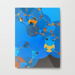 ariana - bright abstract design of orange blue yellow and aquamarine Metal Print