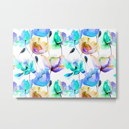 Multi Color Poppies and Tulips Watercolor Pattern Metal Print