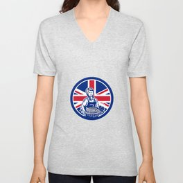 British Female Organic Farmer Union Jack Flag Icon Unisex V-Neck
