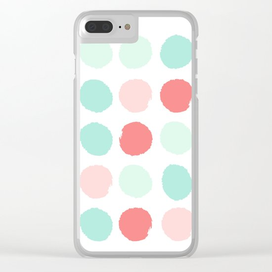 Painted dot abstract trendy colors gender neutral seaside coral tropical minimal Clear iPhone Case