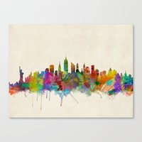 new york skyline Canvas Prints featuring New York City Skyline by artPause