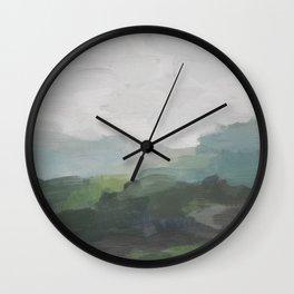 Dark Green Seafoam Teal Valley Horizon Gray Cloudy Skies Abstract Nature Ocean Painting Art Print Wall Decor  Wall Clock
