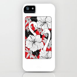 Flamingos and tropical flowers and leaves iPhone Case