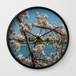 Cherry Blossoms over Jefferson Memorial Wall Clock