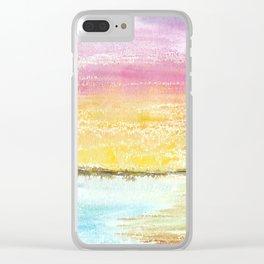 Magic Sunset Watercolor Art Clear iPhone Case