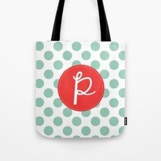 Monogram Initial P Polka Dot Tote Bag