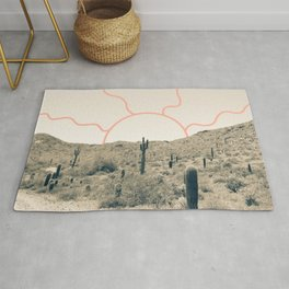 Wonder Rift // Abstract Vintage Mountains Summer Sun Surfer Beach Vibes Drawing Happy Wall Decor Rug