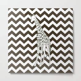 Cola Safari Chevron with Pop Art Giraffe Metal Print