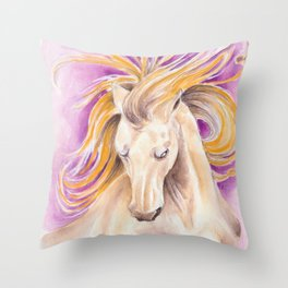 Andalusian Palomino Purple Watercolor Art Throw Pillow