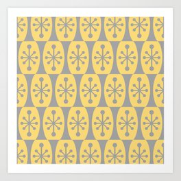 Mid Century Modern Atomic Fusion Pattern 332 Yellow and Gray Art Print